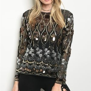 BLACK SILVER GOLD SEQUINS TOP